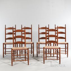 Set of Six Shaker Ladder-back Chairs