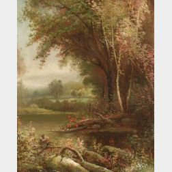 Attributed to Joseph Antonio Hekking (German/American, ac. 1859-1885)  Autumn Landscape with Stream