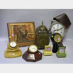 Seven Assorted Clocks and a Retailer's Advertising Plaque