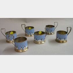 Set of Six Art Deco Enamel Penguin Decorated Metal Teacup Frames