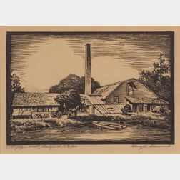 Henry R. Diamond (American, 20th Century)    Old Paper Mill, Roslyn L.I.