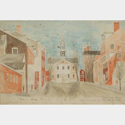 William Banton (British/American, active Early 19th Century) A View of the Court House & Part of the Main St...