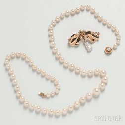 Graduated Cultured Pearl Necklace and Skylight 14kt Gold and Pearl Brooch