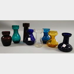 Eight Assorted Colored Blown and Molded Glass Hyacinth Vases.