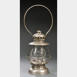 Etched Glass and Nickel-plated Railroad Conductor Presentation Lantern