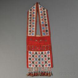 Great Lakes Loom beaded Cloth Bandolier Bag