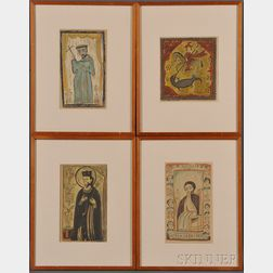 Louie Ewing (American, 1908-1983)      Four Saint Portraits: San Ignacio, Saint George and the Dragon, San Fernandes