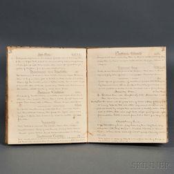 Manuscript Recipe Book; Bangor, Maine, c. 1838.
