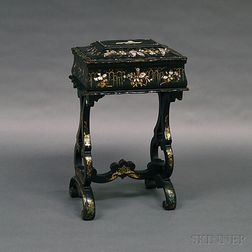 Chinese Export Black-lacquered Sewing Stand and Box