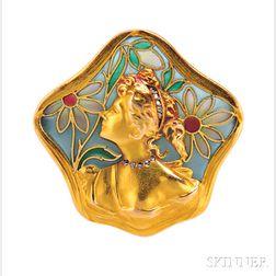 Art Nouveau Plique-a-Jour Enamel Brooch