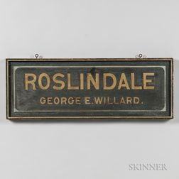 """Roslindale George E. Willard"" Trade Sign"