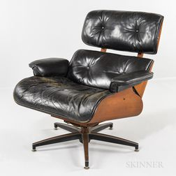 Eames-style Teak and Leather Lounge Chair