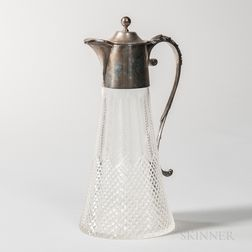 Edward VII Sterling Silver-mounted Cut Glass Wine Ewer