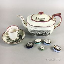 Three Pink Lustre Transfer-decorated Staffordshire Items and Five Battersea Boxes