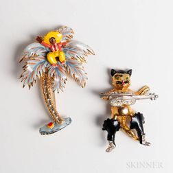 Two Enameled and Rhinestone Costume Brooches