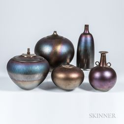 Hideaki Miyamura (Japanese, active United States, b. 1955) Five Porcelain Vases