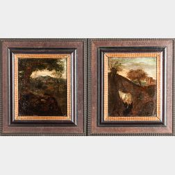 Attributed to Simon van der Does (Dutch, 1653/4-c.1718)      Two Pastoral Scenes