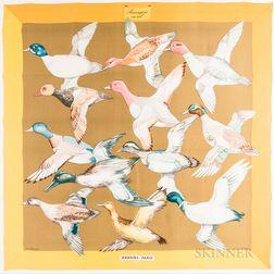 """Framed Hermes """"Sauvagine en Vol"""" Orange Silk Scarf"""