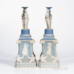 Pair of Wedgwood Jasper Figural Candlesticks on Plinths