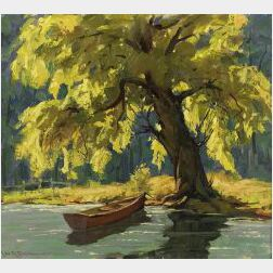 Leo B. Blake (American, 1887-1976)  Sunlight Through the Friendly Old Tree