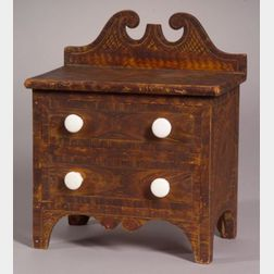 Grain-Painted Miniature Two-Drawer Chest