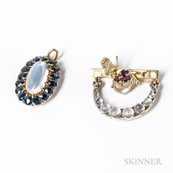 14kt Gold, Moonstone, and Amethyst Crescent Brooch and a 14kt Gold, Sapphire, and Moonstone Pendant