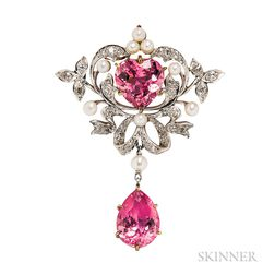 Edwardian Pink Tourmaline and Diamond Pendant/Brooch