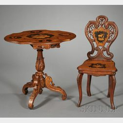 "Two Pieces of Swiss Marquetry-inlaid and Carved Walnut ""Black Forest"" Furniture"