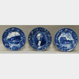 Three Blue Transfer-decorated Pottery Dinner Plates