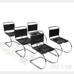 Five Mies van der Rohe MR Style Side Chairs