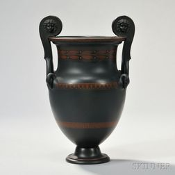 Wedgwood Encaustic Decorated Black Basalt Volute Krater Urn
