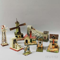 Eight German Lithographed Tin Steam Toys