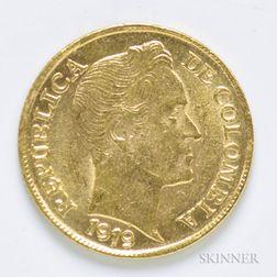 1919 Columbian 5 Pesos Gold Coin, KM201.1.