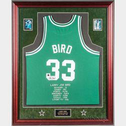 Framed Signed Larry Bird Jersey