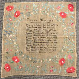 Needlework Thompson Family Record