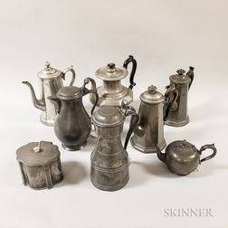 Four Pewter Coffeepots, Two Flagons, a Teapot, and a Tea Caddy