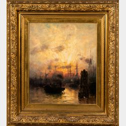 George Bunn (American, fl. 1885-1898)      The Thames, Sunset