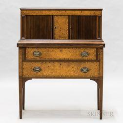 Federal-style Mahogany and Burlwood Veneer Tambour-doored Desk
