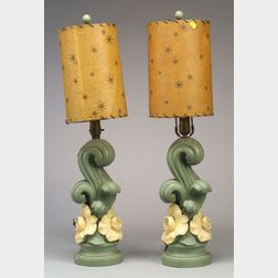 Pair of Mid-Century Plaster Lamp Bases and Shades