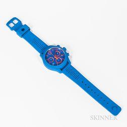 Movado Blue Rubber ESQ Quartz Chronograph Wristwatch