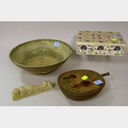 Indian Lapis Inlaid Stone Covered Box, a Bronze Bowl, Japanese Cast Iron Fan-shaped Incense Burner, and a Chinese Carved Hardstone Figu