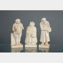 Three Doulton Lambeth White Glazed Stoneware Dickens Figures