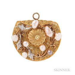 Edwardian Gold and Diamond Hat Pendant/Brooch