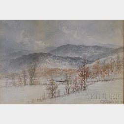 Framed Watercolor on Paper/board Winter Landscape by Charles Wesley      Sanderson (American, 1835-1905)