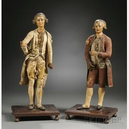 Pair of Wax Figures of Georges Danton and Maximilien Robespierre