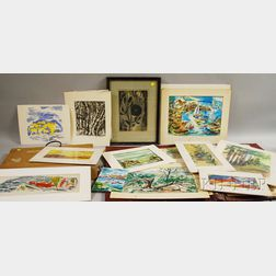 Betty E. Skolnikoff (American, 1902-1998)      Lot of Forty-nine Works, Mostly Watercolors and Woodblock Prints