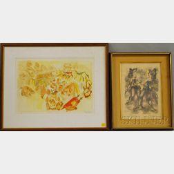 Chaim Gross (American, 1904-1991)      Two Color Lithographs:   Simchath Torah