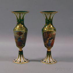 Pair of Bohemian Green Glass Portrait Vases