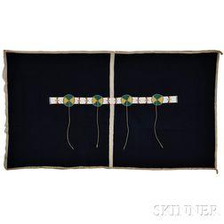 Cheyenne Blue Trade Cloth Blanket with Beaded Hide Blanket Strip