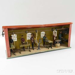 German Lithographed Antique Tin Shop Steam Toy